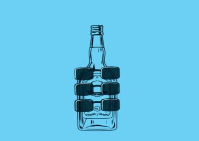 Trois hommes dans une bouteille